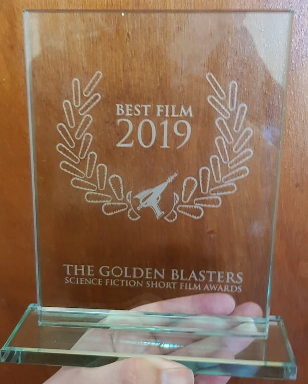 The 2019 Golden Blaster award for Best Film - etched glass