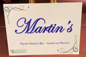 The sign for Martin's Bar at Dublin 2019, an Irish Worldcon