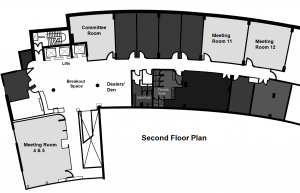 Plan of the second floor of the Crowne Plaza Blanchardstown hotel, laid out for Octocon 2019